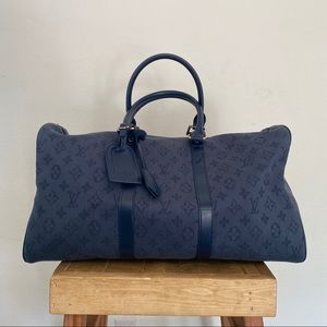 LV Keepall Bandouliere Denim 50 Navy